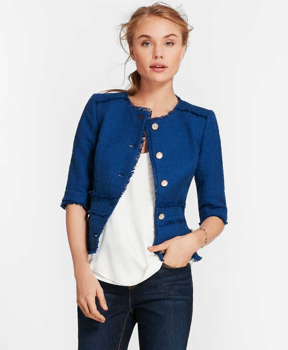 Cotton Boucle Elbow-Sleeve Jacket Blue