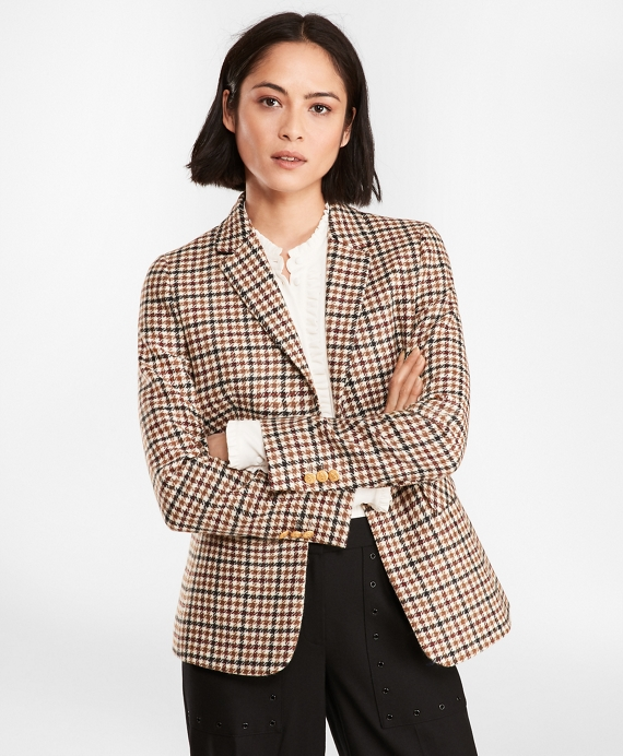 Checked Wool Twill Jacket Black-Brown