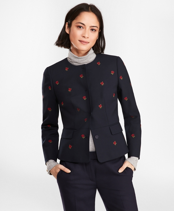 Rose-Embroidered Hopsack Peplum Jacket Navy