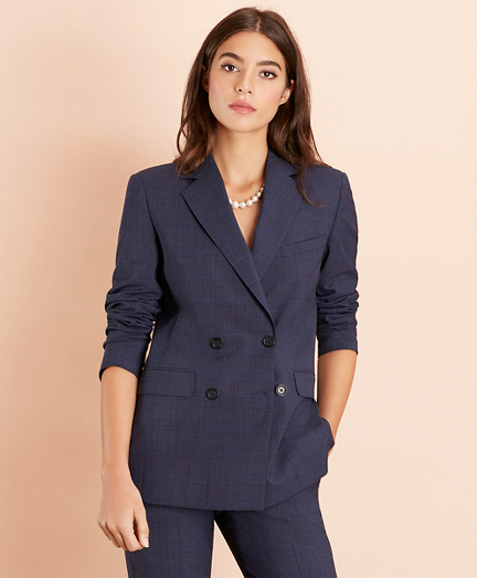 Plaid Stretch-Wool Double-Breasted Jacket