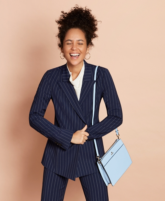 Striped Stretch-Wool Double-Breasted Jacket Navy