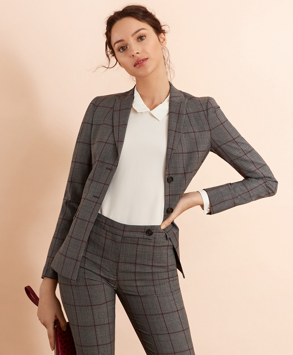 Plaid Stretch-Wool Jacket Grey