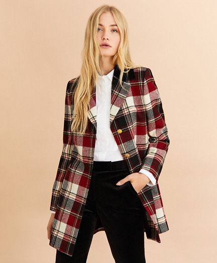 Plaid Wool Twill Long Jacket