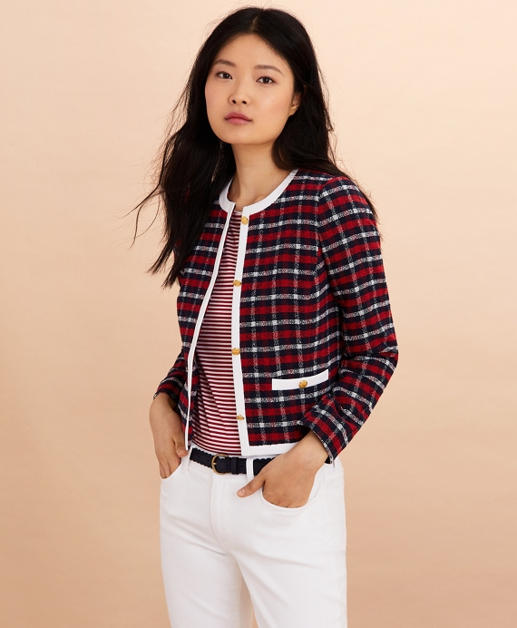 Checked Boucle Jacket Navy-Red