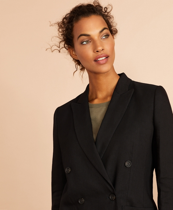 Linen-Blend Twill Double-Breasted Jacket Black