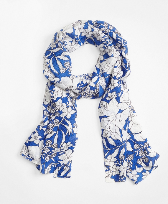 Blue Floral Silk Oblong Scarf Blue-White