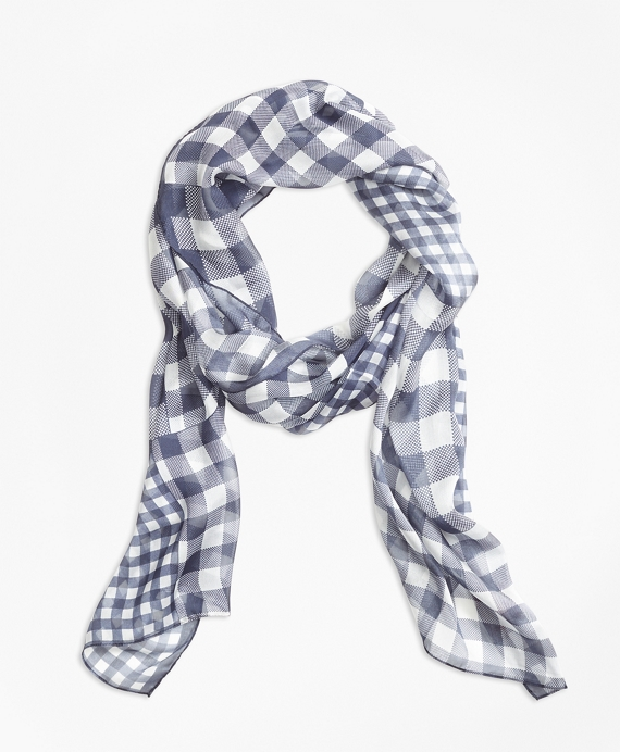 Gingham Patchwork-Print Silk-Chiffon Oblong Scarf Navy
