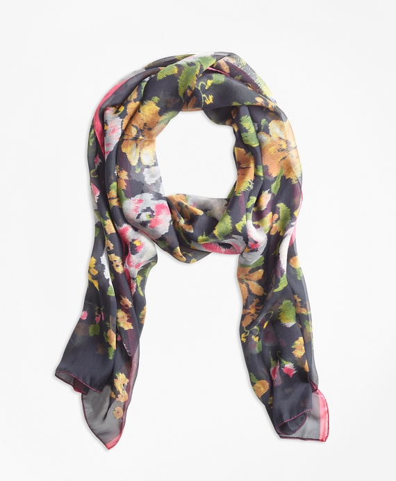 Floral Chintz Silk Square Scarf Navy-Multi