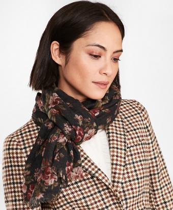 Floral-Print Wool Scarf