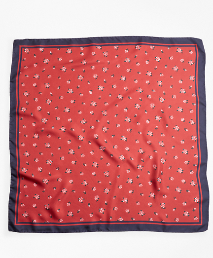 Rose-Print Silk Square Scarf