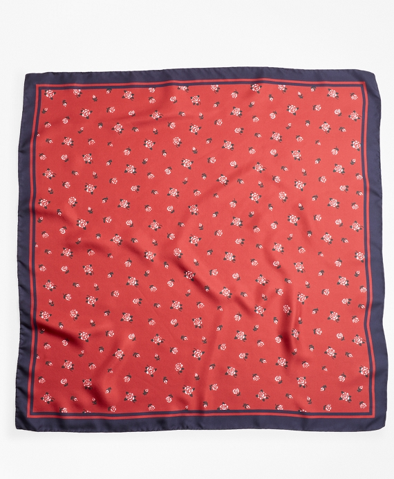 Rose-Print Silk Square Scarf Red-Navy