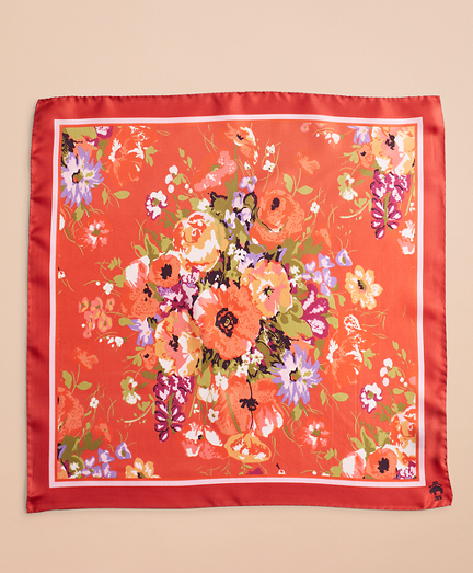 Watercolor Floral-Print Silk Square Scarf