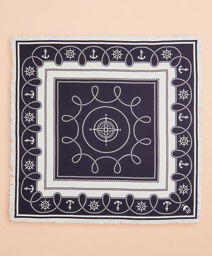 Nautical-Print Silk Square Scarf