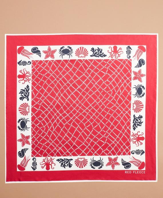 Nautical-Print Silk Square Scarf Red