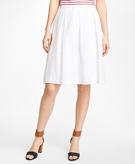Pleated Cotton Eyelet Skirt