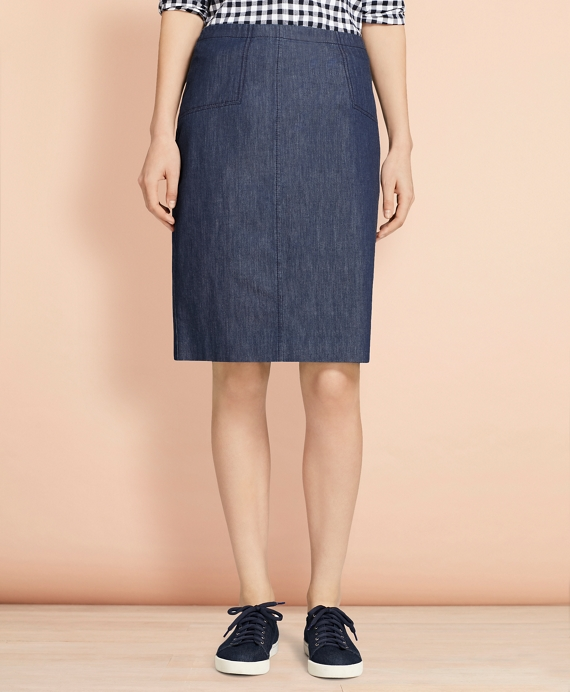 Denim Pencil Skirt Blue