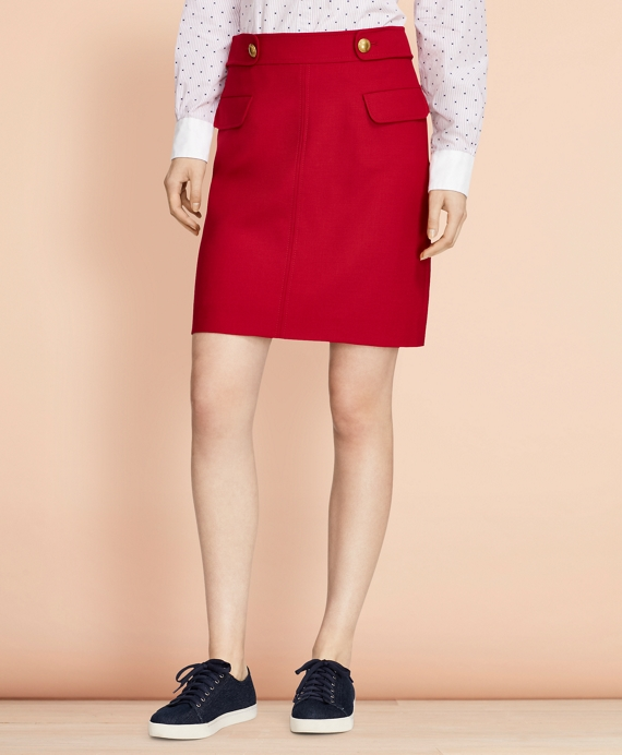 A-Line Wool-Blend Skirt Red