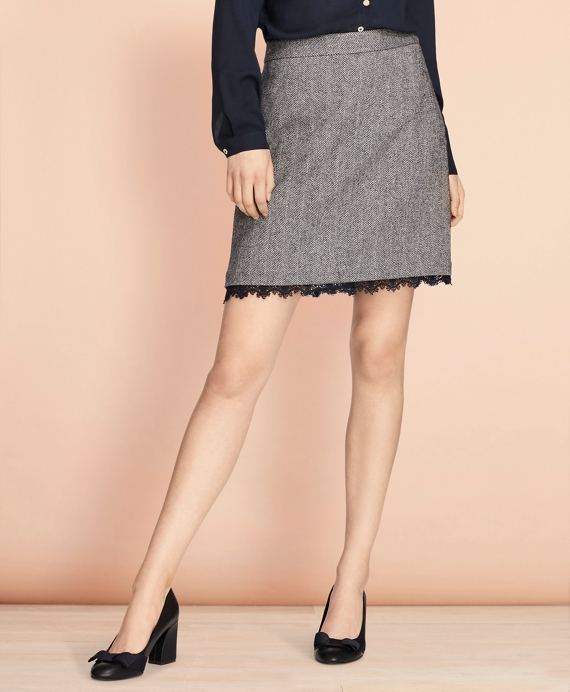 Lace-Trimmed Herringbone A-Line Skirt Grey