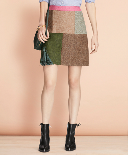 Patchwork Tweed Skirt