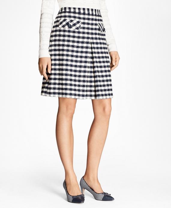 Gingham Boucle Skirt Navy