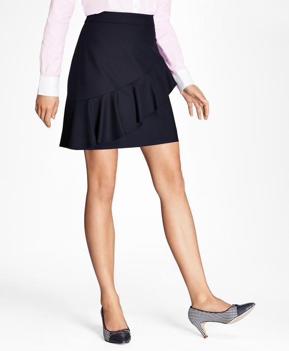 Ruffled Stretch-Wool Skirt Navy