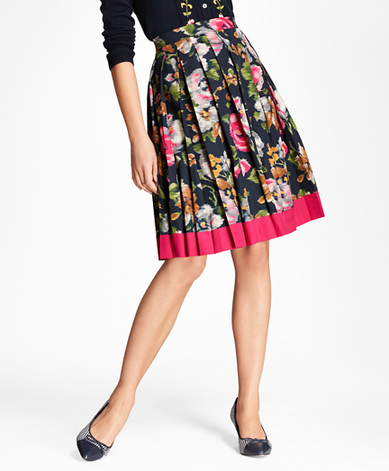 Floral-Print Cotton Sateen Pleated Skirt