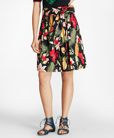 Tropical-Print Stretch Cotton Poplin Skirt