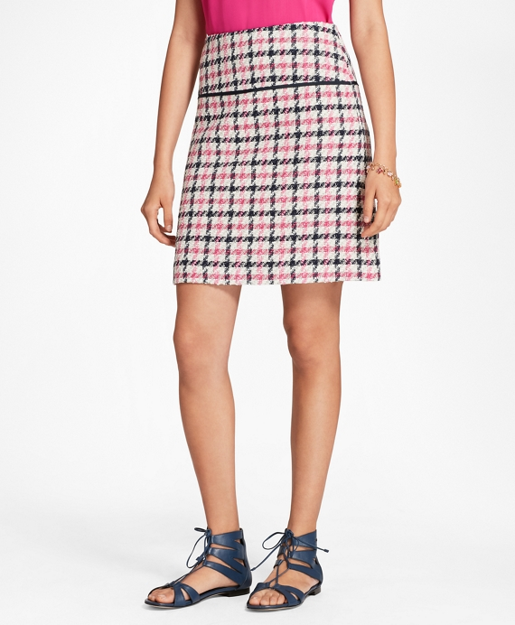 Checked Cotton-Blend Boucle Skirt Pink-Black