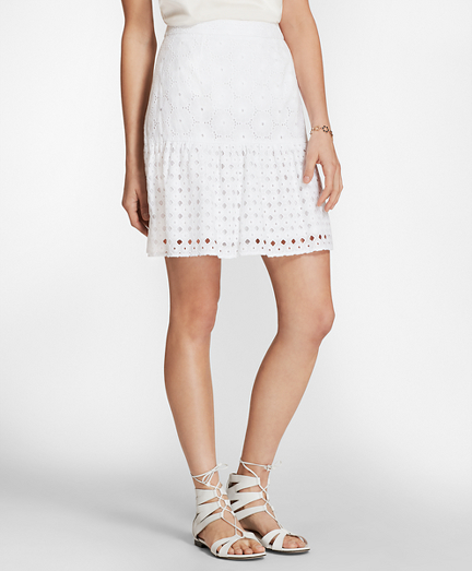 Cotton Eyelet Flounce Skirt