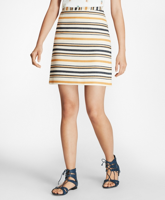 Striped A-Line Skirt Navy-Yellow