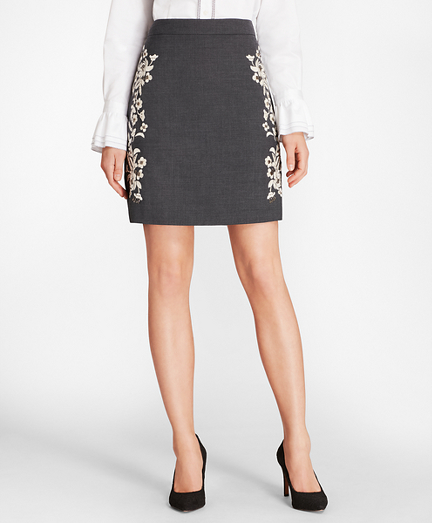 Floral-Embellished Wool-Blend Twill Skirt