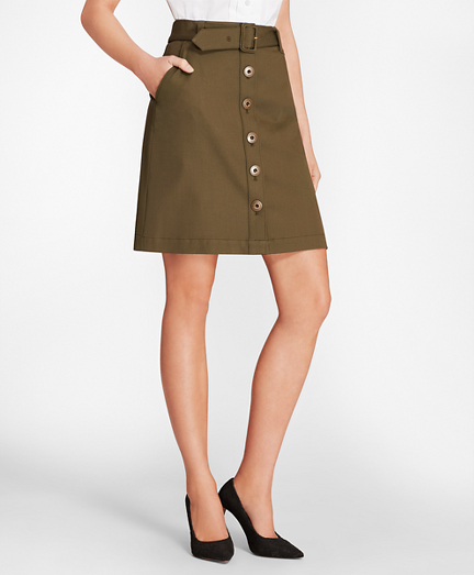 Stretch Cotton-Twill Button-Front A-Line Skirt