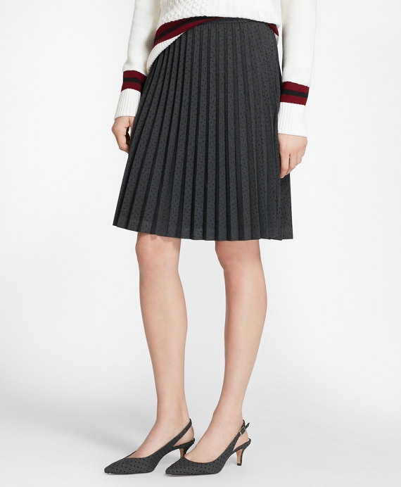 Flocked Polka Dot Twill Pleated Skirt Charcoal-Navy