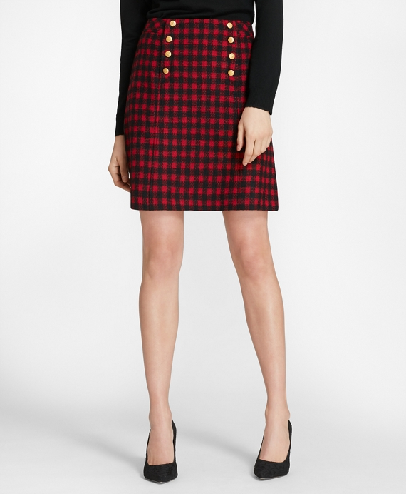 Checked Wool-Blend Skirt Red-Black