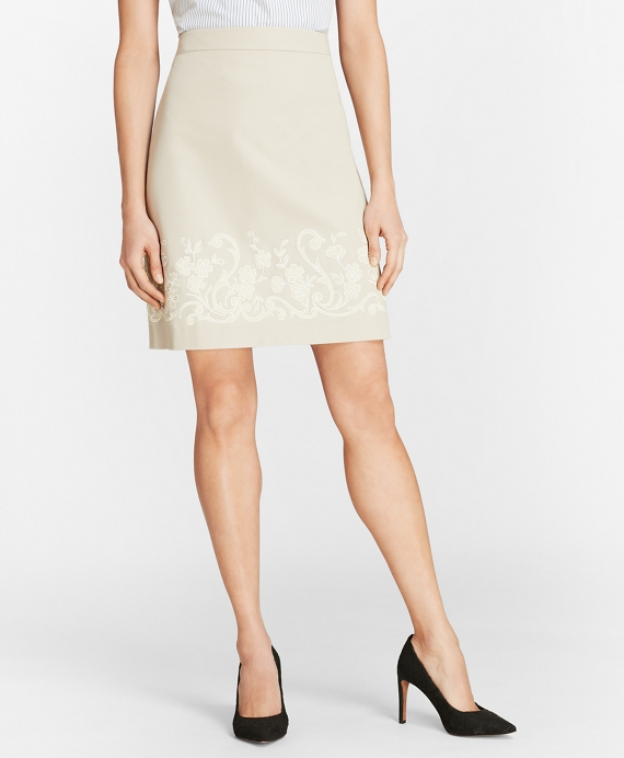 Floral-Embroidered Stretch Cotton-Twill Skirt Stone