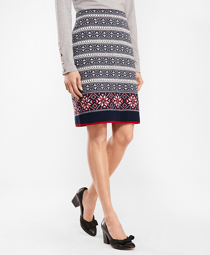 Fair Isle Stretch Wool Knit Skirt