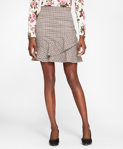 Checked Wool-Blend Twill Ruffle-Hem Skirt