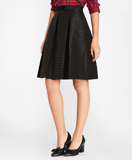 Polka-Dot Jacquard Pleated Skirt