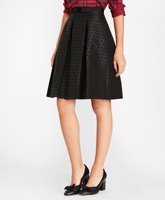 6137a6b8560873 Polka-Dot Jacquard Pleated Skirt | Brooks Brothers