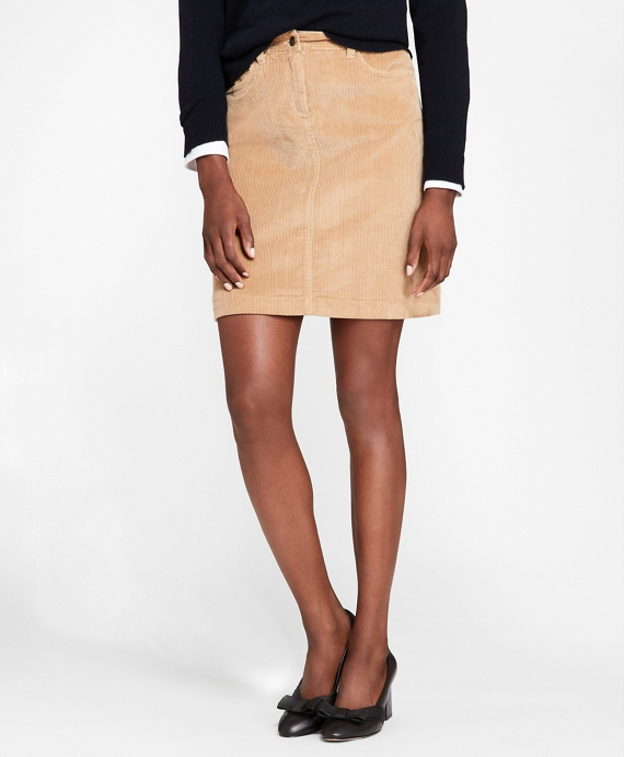 Stretch-Cotton Corduroy Skirt Tan
