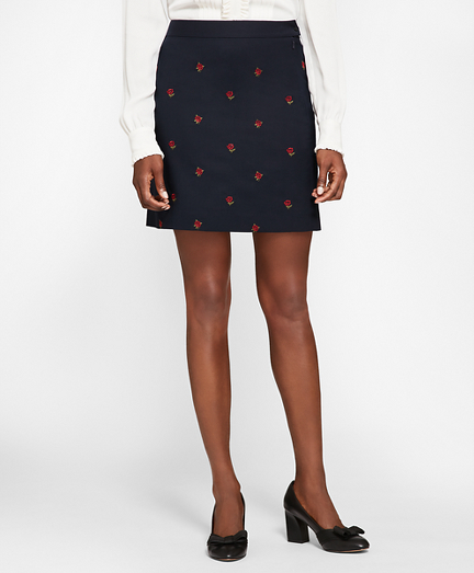 Rose-Embroidered Hopsack A-Line Skirt