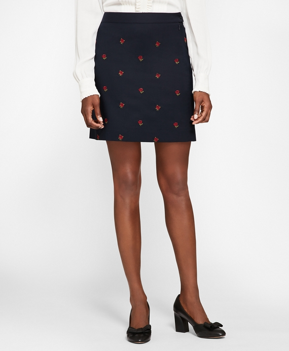 Rose-Embroidered Hopsack A-Line Skirt Navy