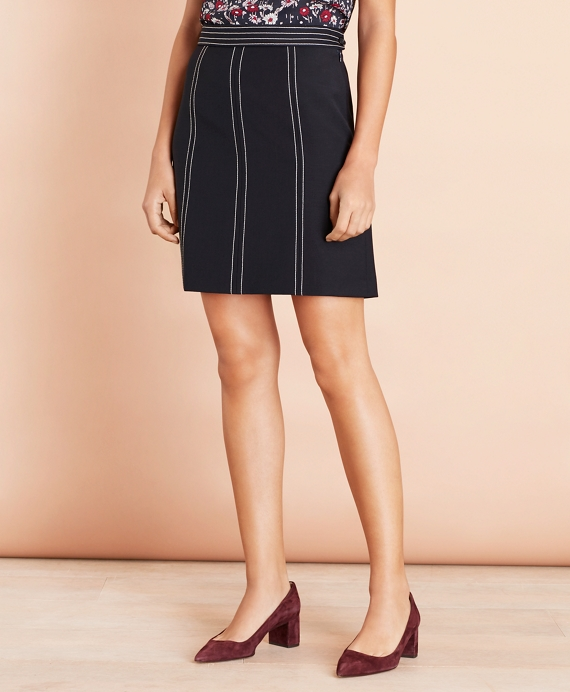 Topstitched Wool-Blend Crepe A-Line Skirt Navy