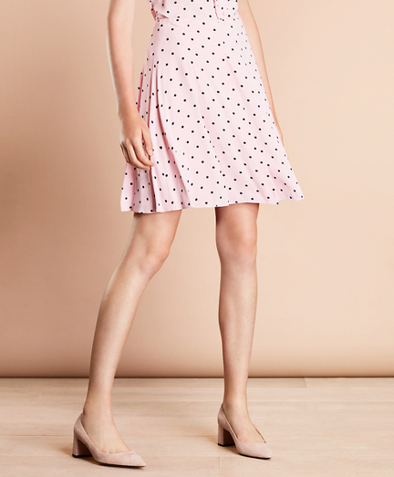 Polka-Dot Crepe Pleated Skirt