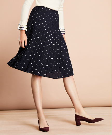 Polka-Dot Crepe Accordion-Pleated Wrap Skirt