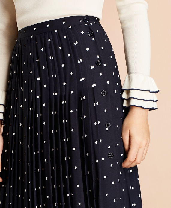 4d3f159f5 Polka-Dot Crepe Accordion-Pleated Wrap Skirt - Brooks Brothers