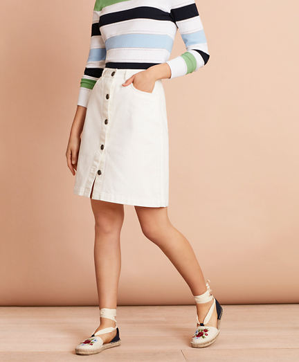 Stretch-Cotton Twill Button-Front Skirt