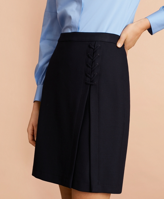 Twill Lace-Up A-Line Skirt Navy