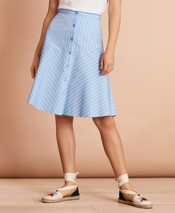 Striped Cotton Poplin A-Line Skirt Blue-White