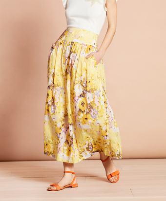 Floral-Print Cotton Maxi Skirt